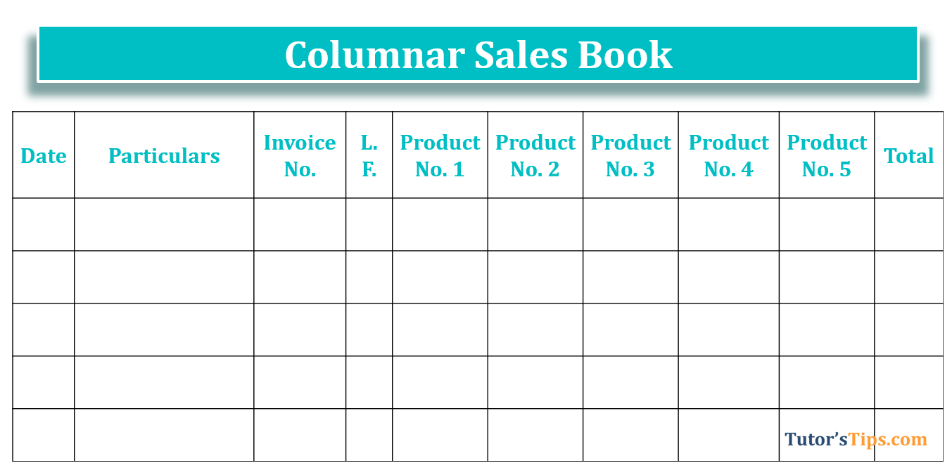 Columnar Sale book - Sales Book| Subsidiary Books | Examples