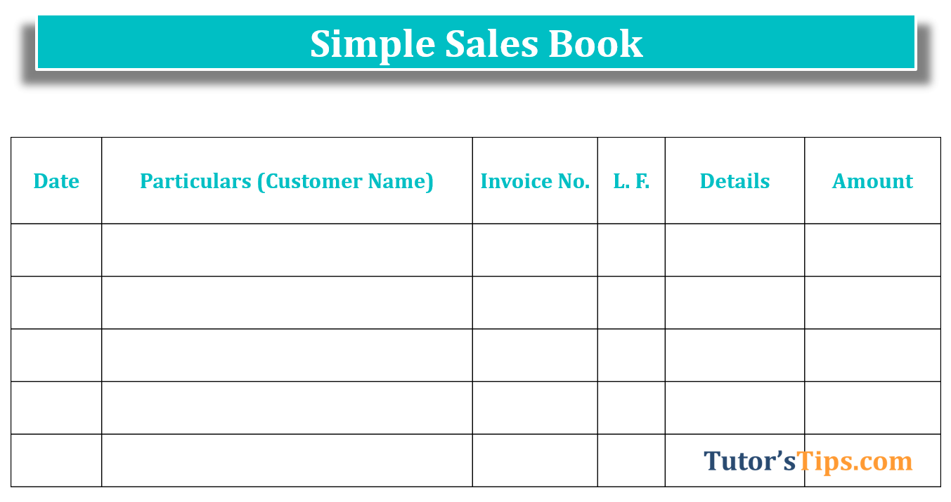 Simple Sale book - Sales Book| Subsidiary Books | Examples