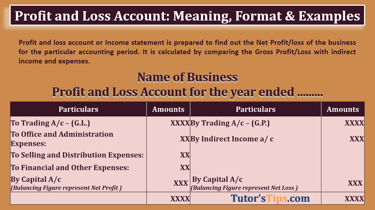Profit And Loss Account Meaning Format Examples Tutor S Tips