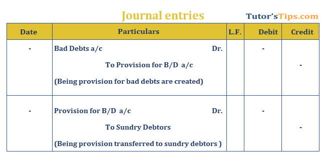 Provision in Accounting Journal Entry for provision for Bad debts - The provision in accounting: Types and Treatment