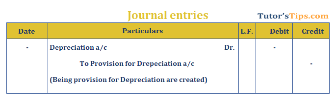 Provision in Accounting Journal Entry for provision for Depreciation - The provision in accounting: Types and Treatment