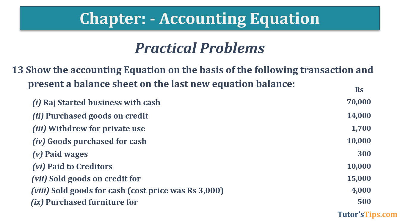 Question No.13 Chapter No.5 T.S. Grewal 1 Book 2019 - Accounting Equation - T.S. Grewal 11 Class - Book Solution