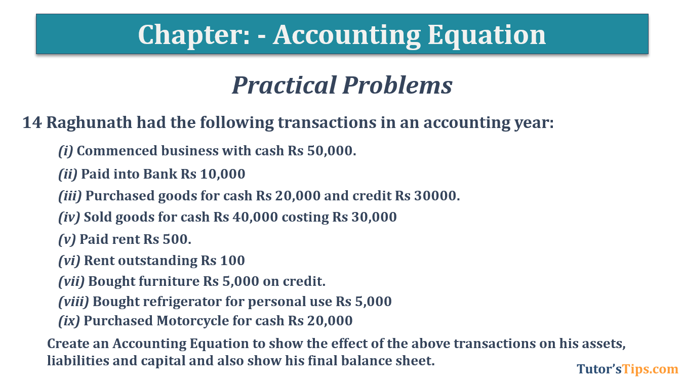 Question No.14 Chapter No.5 T.S. Grewal 1 Book 2019 - Accounting Equation - T.S. Grewal 11 Class - Book Solution