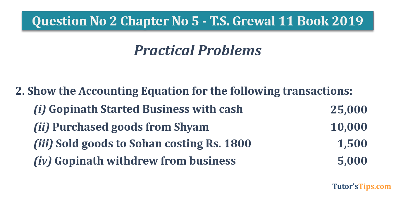 Question No.2 Chapter No.5 T.S. Grewal 1 Book 2019 - Question No 2 Chapter No 5 - T.S. Grewal 11 Class