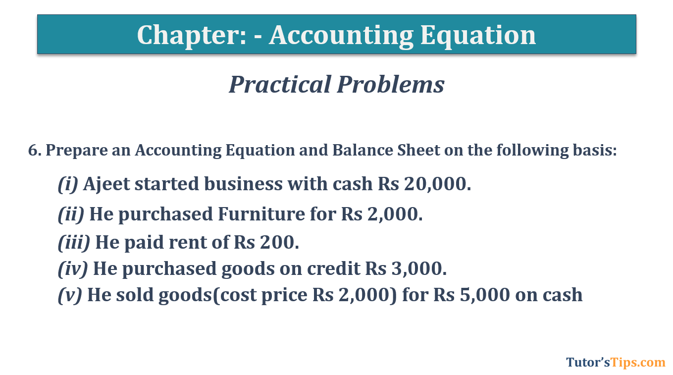 Question No.6 Chapter No.5 T.S. Grewal 1 Book 2019 - Accounting Equation - T.S. Grewal 11 Class - Book Solution