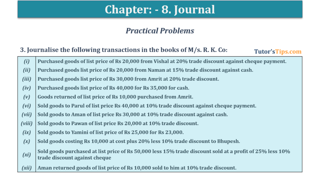 Question No. 3 - Chapter No.8 - T.S. Grewal +1 Book 2019