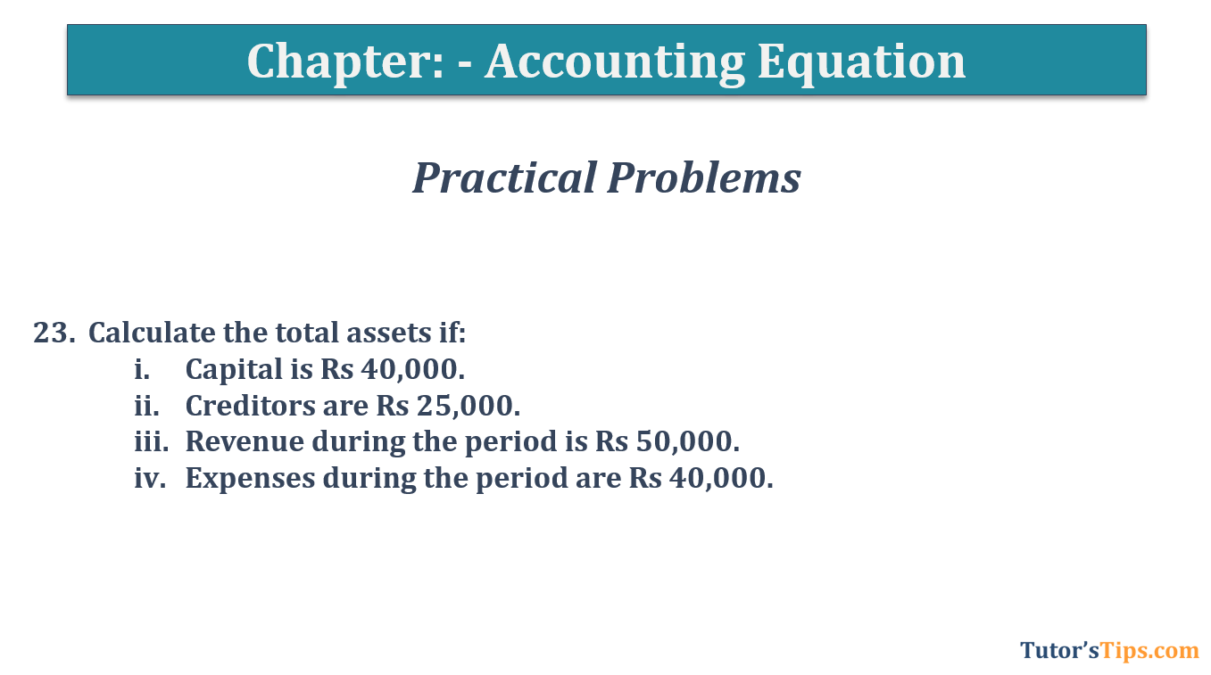Question No.23 Chapter No.5 T.S. Grewal 1 Book 2019 - Accounting Equation - T.S. Grewal 11 Class - Book Solution