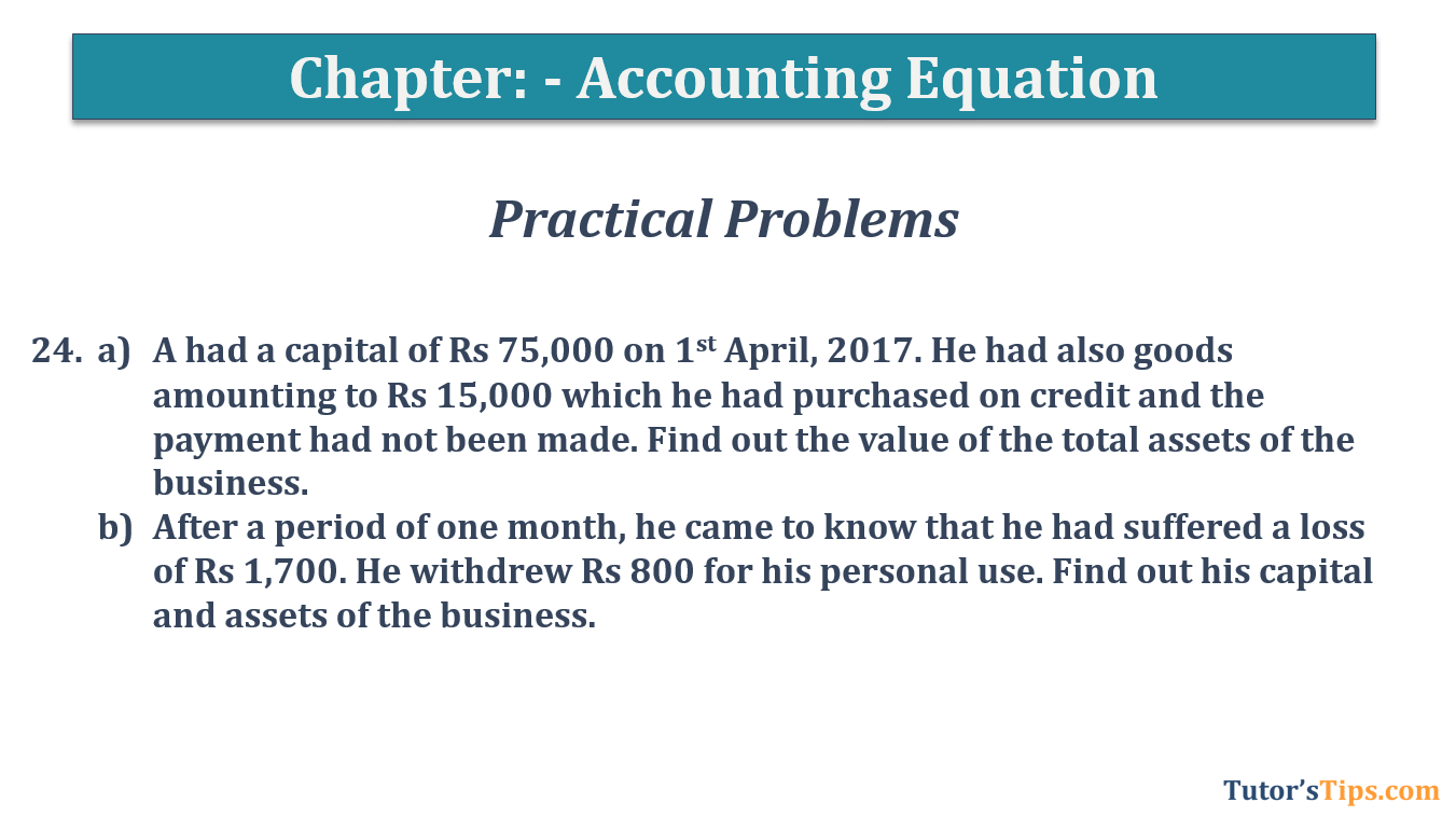 Question No.24 Chapter No.5 T.S. Grewal 1 Book 2019 - Accounting Equation - T.S. Grewal 11 Class - Book Solution