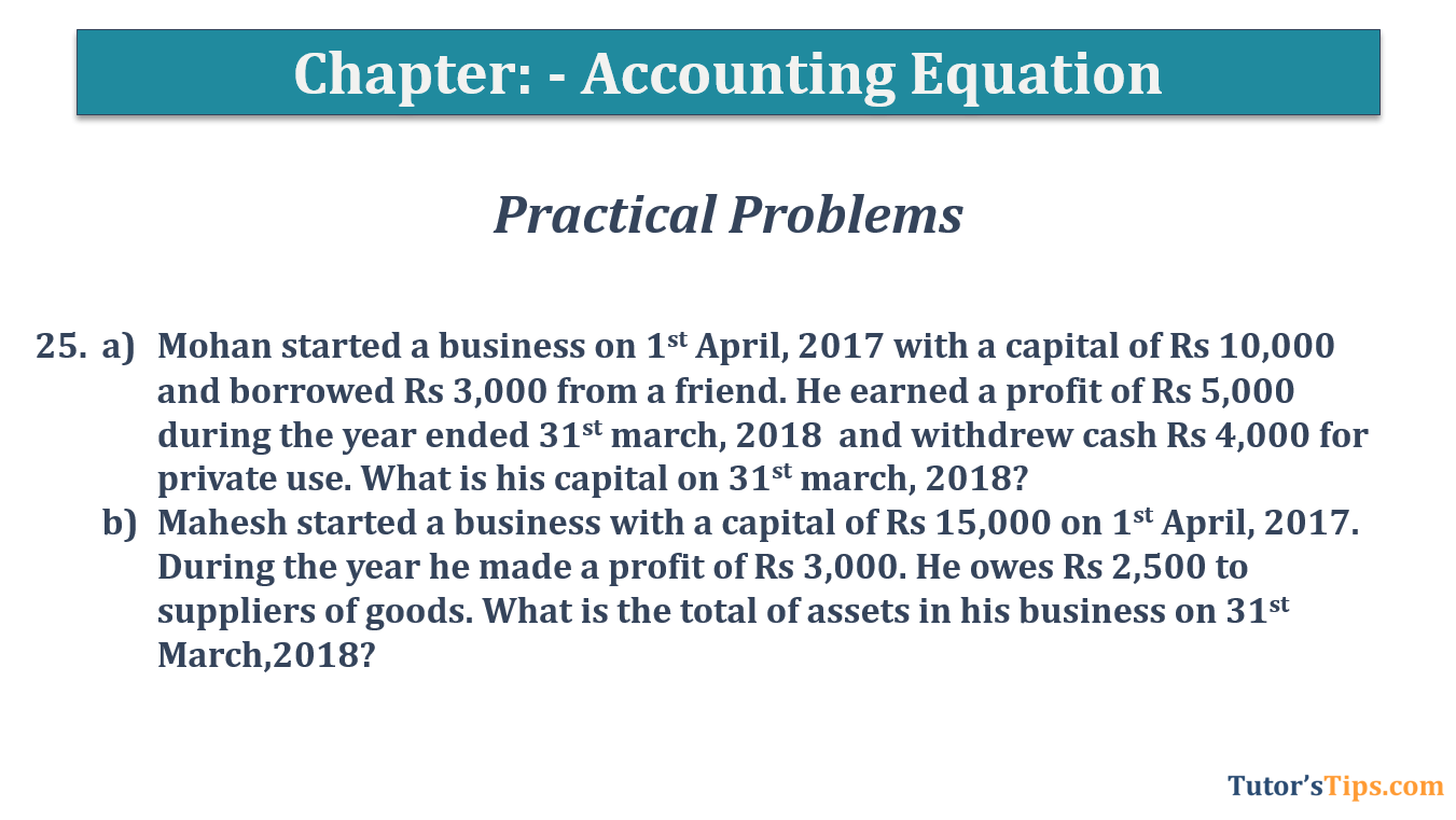 Question No.25 Chapter No.5 T.S. Grewal 1 Book 2019 - Accounting Equation - T.S. Grewal 11 Class - Book Solution