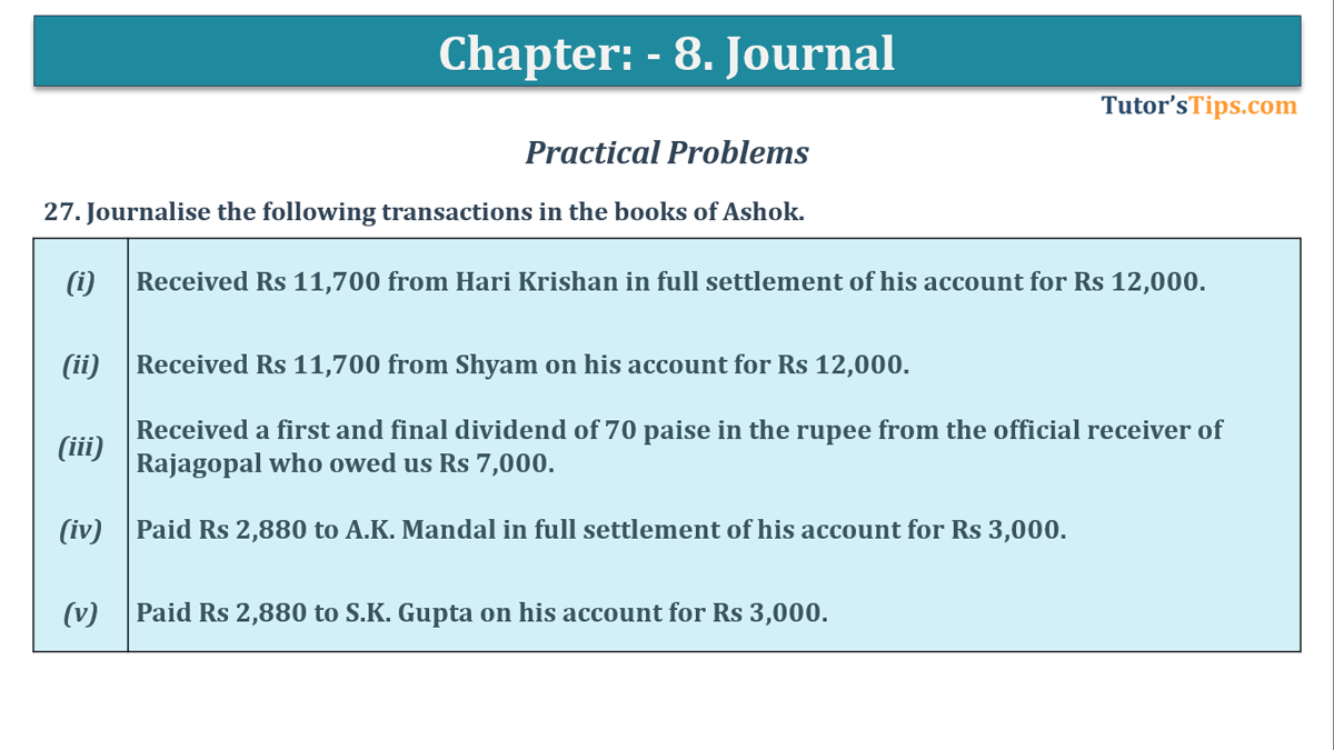 Question No. 27 - Chapter No.8 - T.S. Grewal +1 Book 2019