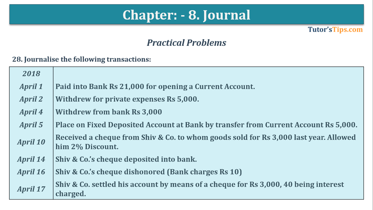 Question No. 28 - Chapter No.8 - T.S. Grewal +1 Book 2019