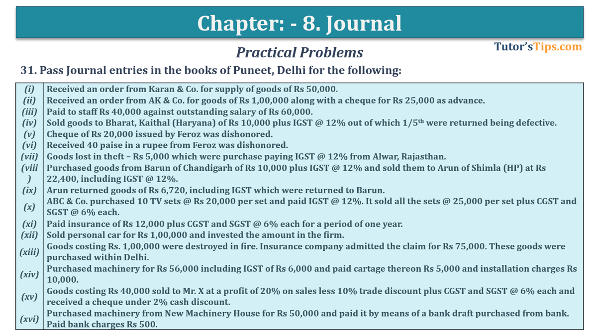 Question No. 31 - Chapter No.8 - T.S. Grewal +1 Book 2019