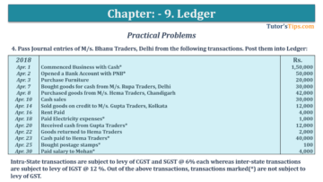 Question No. 4 Chapter No.9 T.S. Grewal 1 Book 2019 360x203 - Chapter No. 9 - Ledger - T.S. Grewal 11 Class - Book Solution