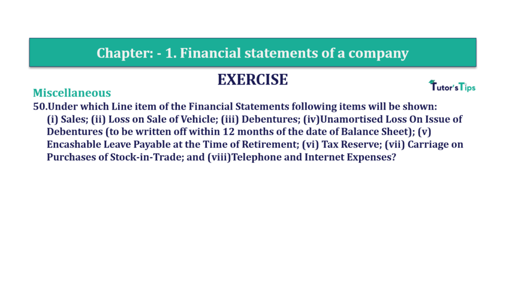 Question 50 Chapter 1 of +2-B