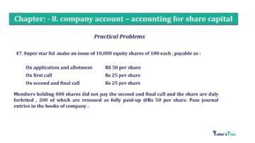Question No.47. Chapter No.8 T.S. Grewal 2 Book 2019 Solution min min 360x202 - Chapter No. 8 - Company Accounts - Accounting for Share Capital