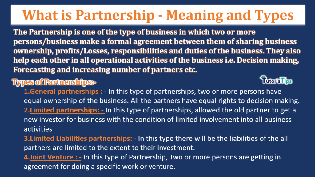 What is Partnership - Meaning and Types-min