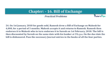Question No.24 Chapter No.16 T.S. Grewal 1 Book 2019 Solution min min 360x202 - Chapter No. 16 - Accounting for Bills of Exchange - Solution