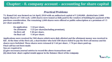 Question No.71 Chapter No.8 T.S. Grewal 2 Book 2019 Solution min min min 360x202 - Chapter No. 8 - Company Accounts - Accounting for Share Capital