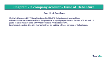 Question No45 Chapter No.9 T.S. Grewal 2 Book 2019 Solution min min 360x202 - Chapter No. 9 - Issue of Debentures - Solution - Class 12