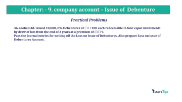 Question No46 Chapter No.9 T.S. Grewal 2 Book 2019 Solution min min 360x202 - Chapter No. 9 - Issue of Debentures - Solution - Class 12