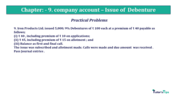 Question No9 Chapter No.9 T.S. Grewal 2 Book 2019 Solution min min 360x202 - Chapter No. 9 - Issue of Debentures - Solution - Class 12