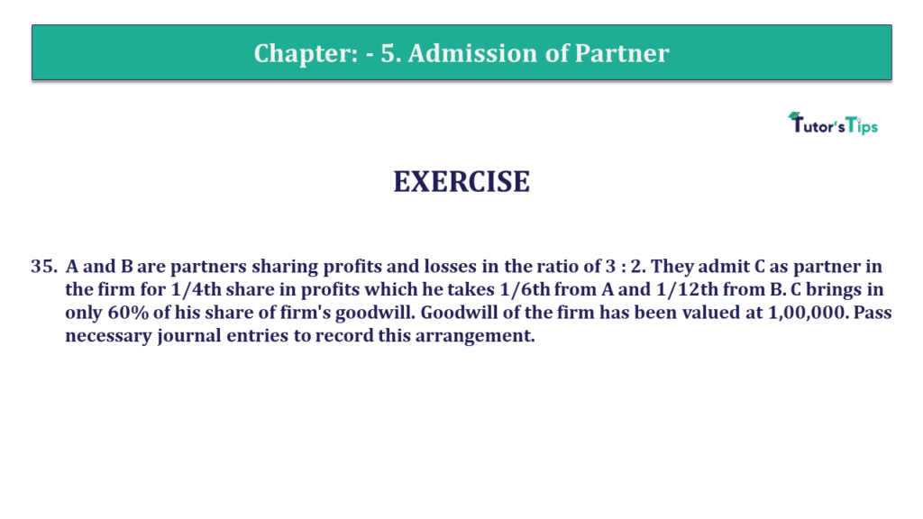 The solution of Question 34 Chapter 5 of +2-A - T.S. Grewal +2 Book 2019 with the explanation of all transactions to understand better.