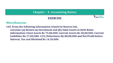 Question No. 145 Chapter No.4 T.S. Grewal 2 Book Part B min 360x202 - Chapter No. 4 - Accounting Ratios - Solution - Class 12