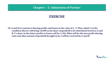 Question No.20 Chapter No.5 T.S. Grewal 2 Book 2019 Solution min min 1 360x202 - Chapter No. 5 - Admission of a Partner - Solution - Class 12