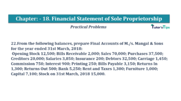 Question No.22 Chapter No.18 T.S. Grewal 1 Book 2019 Solution min min 360x202 - Chapter No. 18 - Financial Statements of Sole Proprietorship - Solution