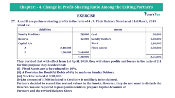 Question No.27 Chapter No.4 T.S. Grewal 2 Book 2019 Solution min min 360x202 - Chapter No. 4 – Change in Profit-Sharing Ratio Among the Existing Partners - Solution