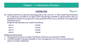 Question No.28 Chapter No.5 T.S. Grewal 2 Book 2019 Solution min min 360x202 - Chapter No. 5 - Admission of a Partner - Solution - Class 12