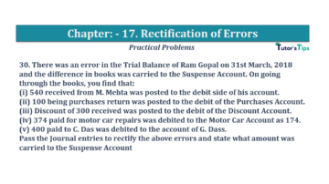 Question No.30 Chapter No.17 T.S. Grewal 1 Book 2019 Solution min min 360x202 - Chapter No. 17 - Rectification of Errors- Solution