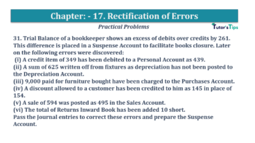 Question No.31 Chapter No.17 T.S. Grewal 1 Book 2019 Solution min min 360x202 - Chapter No. 17 - Rectification of Errors- Solution