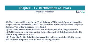 Question No.42 Chapter No.17 T.S. Grewal 1 Book 2019 Solution min min 360x202 - Chapter No. 17 - Rectification of Errors- Solution