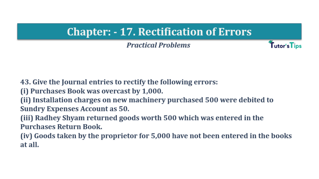 Question No 43 Chapter No 17