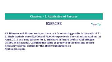 Question No.43 Chapter No.5 T.S. Grewal 2 Book 2019 Solution min min 360x202 - Chapter No. 5 - Admission of a Partner - Solution - Class 12