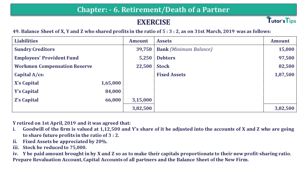 Q 49 CH 6 T.S. Grewal 2 Book 2019 Solution min - Chapter No. 6 - Retirement/Death of a Partner - Solution - Class 12
