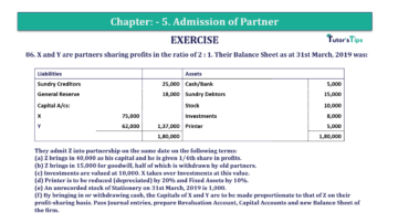 Question No.86 Chapter No.5 T.S. Grewal 2 Book 2019 Solution min min 360x202 - Chapter No. 5 - Admission of a Partner - Solution - Class 12