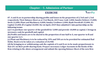 Question No.87 Chapter No.5 T.S. Grewal 2 Book 2019 Solution min min 360x202 - Chapter No. 5 - Admission of a Partner - Solution - Class 12