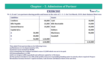 Question No.94 Chapter No.5 T.S. Grewal 2 Book 2019 Solution min min 360x202 - Chapter No. 5 - Admission of a Partner - Solution - Class 12