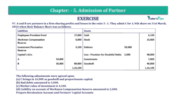 Question No.97 Chapter No.5 T.S. Grewal 2 Book 2019 Solution min min 360x202 - Chapter No. 5 - Admission of a Partner - Solution - Class 12