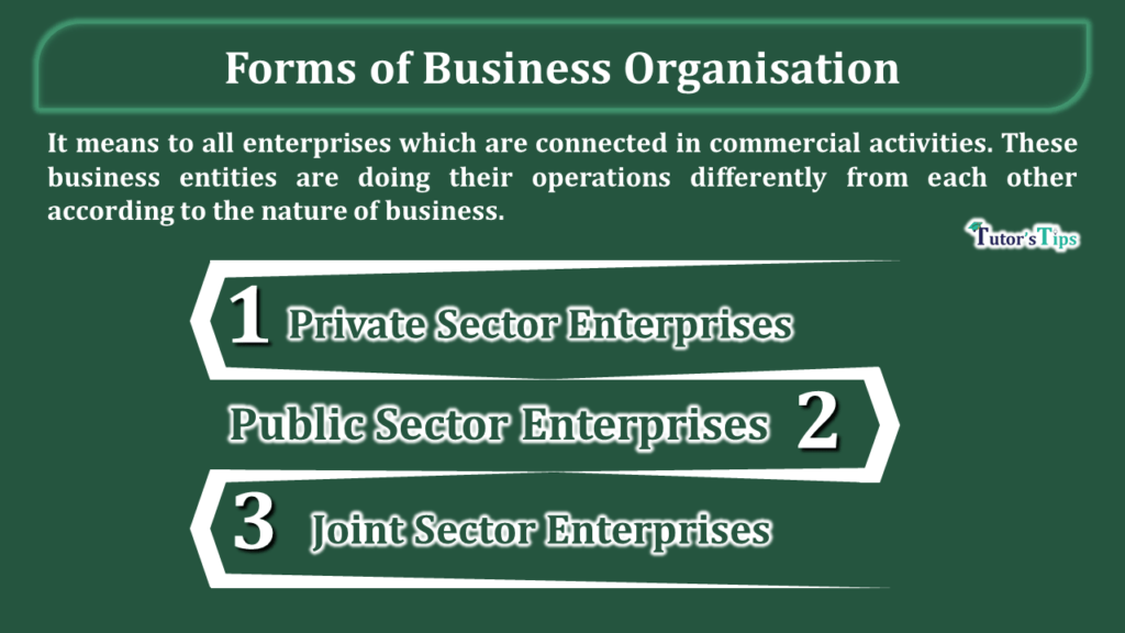 The Forms of business organisations