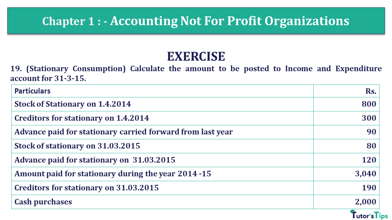 Q 19 CH 1 Usha 2 Book 2018 Solution min - Chapter No. 1 - Accounting Not for Profit Organisations - USHA Publication Class +2 - Solution
