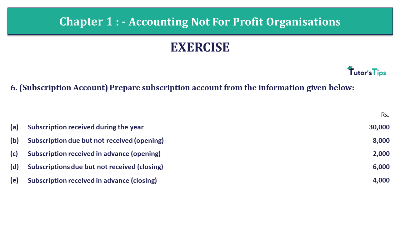 Q 6 CH 1 Usha 2 Book 2018 Solution min 1 - Chapter No. 1 - Accounting Not for Profit Organisations - USHA Publication Class +2 - Solution