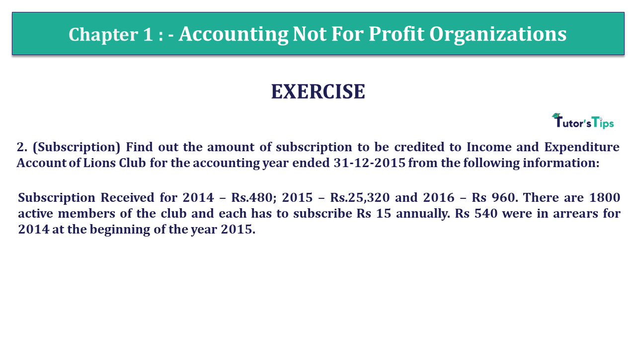 Q 7 CH 1 Usha 2 Book 2018 Solution min - Chapter No. 1 - Accounting Not for Profit Organisations - USHA Publication Class +2 - Solution