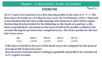 Question No.64 Chapter No.6 T.S. Grewal 2 Book 2019 Solution min min 1 360x203 - Chapter No. 6 - Retirement/Death of a Partner - Solution - Class 12