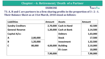 Question No.73 Chapter No.6 T.S. Grewal 2 Book 2019 Solution min min 360x203 - Chapter No. 6 - Retirement/Death of a Partner - Solution - Class 12