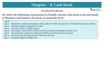 Q 06 CH 8 USHA 1 Book 2020 Solution min 360x203 - Chapter No. 8 - Cash Book - USHA Publication Class +1 - Solution