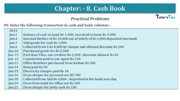 Q 09 CH 8 USHA 1 Book 2020 Solution min 360x203 - Chapter No. 8 - Cash Book - USHA Publication Class +1 - Solution