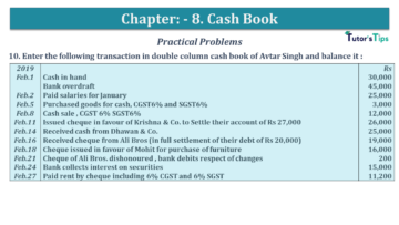 Q 10 CH 8 USHA 1 Book 2020 Solution min 360x203 - Chapter No. 8 - Cash Book - USHA Publication Class +1 - Solution